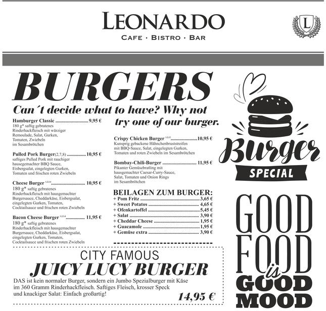 "Cafe Leonardo© -Burger & City Famous ""Juicy Lucy Burger"""