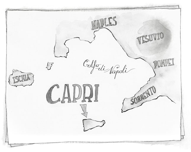 CARTE CAPRI NAPLES ITALIE MARCELLOOO.FR BLOG VOYAGE ITALIE ILLUSTRATION JDAN