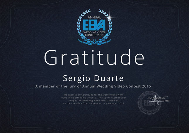 Sergio Duarte Premio Juiz Juri Concurso EEVA Europa Internacional