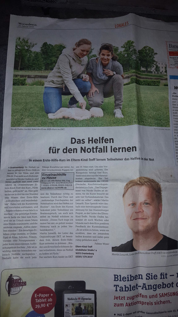 Neuer Artikel in der Zeitung 😁vielen Dank