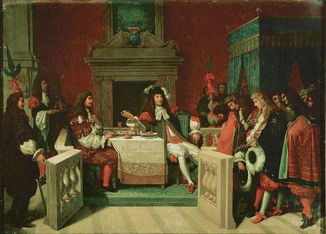 Louis XIV et Molière déjeunant à Versailles. Jean-Auguste-Dominique Ingres (1780–1867). Public Domain.