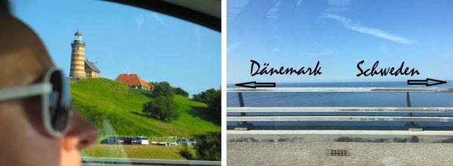 Öresundbrücke und Storebæltsbroen zwischen Odense/Kopenhagen/Malmö. Im Verlauf des Brückengeflechts entdeckt Ihr auf einer Insel bei Odense diesen Leuchtturm (Valdemars tårn, links)...
