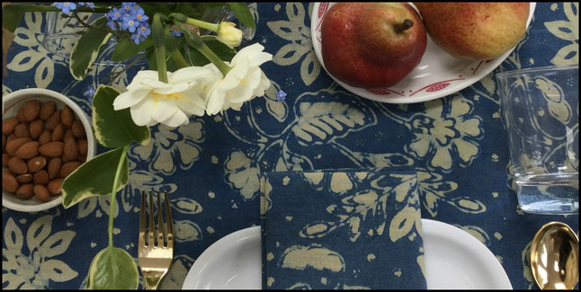 Natural Plant Dye Batik Tabletop Linens from Textiil