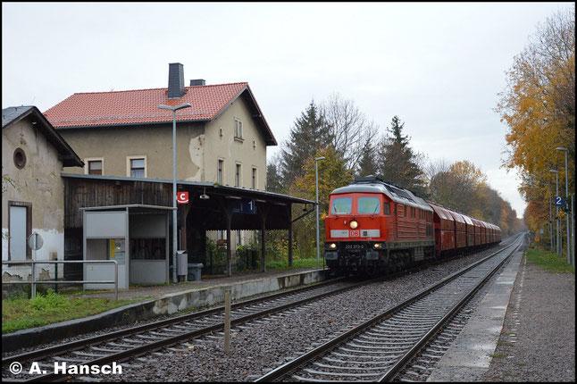 Am 13. November 2018 treffe ich die Lok am Gipszug nach Küchwald in Wittgensdorf-Mitte an. Der DB-Keks wurde erneuert, dennoch ist ihr Ende nah. Anfang Dezember wird die Lok z-gestellt
