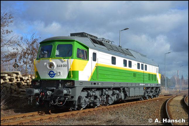 Am 12. Februar 2019 ist die Lok kaum wiederzuerkennen. Als 648 001-9 wird sie zukünftig in Ungarn ihren Dienst verrichten. In Cottbus konnte ich die Lok bei einer kurzen Testfahrt fotografieren