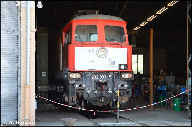 232 903-5 steht am 21. August 2020 im Rundhaus 2 des SEM Chemnitz