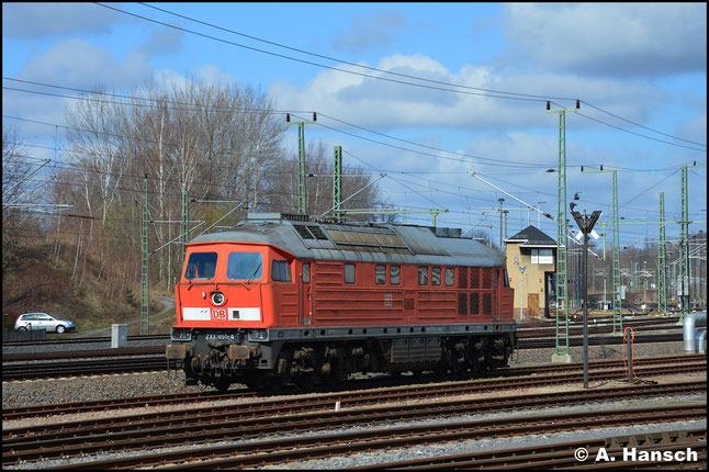 Am 14. März 2020 steht die Lok zum Abtransport am AW Chemnitz bereit