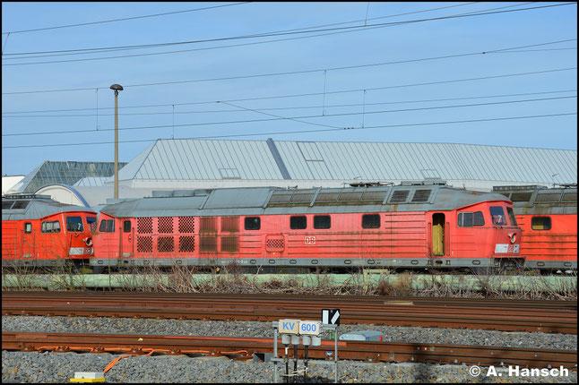 Am 15. März 2020 steht die Lok am AW Chemnitz zum Abtransport gen Polen bereit