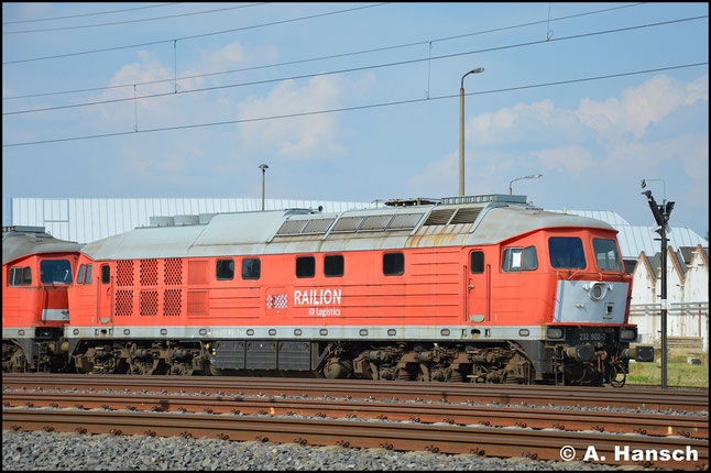 232 902-7 ist 2013 nach einem Motorschaden z--gestellt worden. Zunächst in Hamm wurde sie kürzlich nach Chemnitz überführt. Hier steht sie am 9. August 2018 zum Abtransport bereit