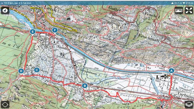 Wanderplan Turtmann - Agarn - Susten