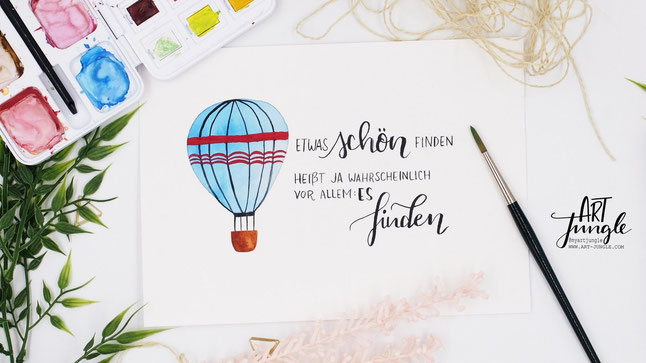 Watercolor Heißluftballon Zitat Ideen Aquarell Lettering