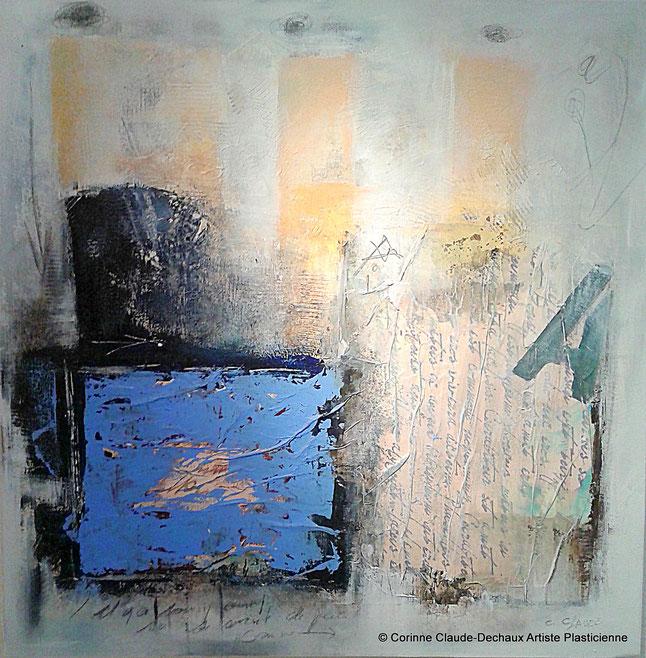 Fragmentations Technique mixte et huile sur toile 50x50