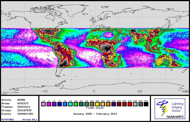 This comparable Nasa map shows global lightning strikes from January 1998 to 2013 from the NASA/MSFC Lighting Imaging Sensor