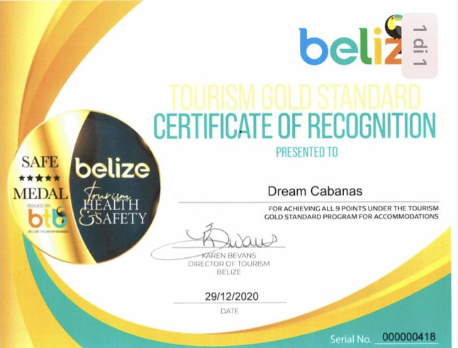 Belize Certificate of Recognition