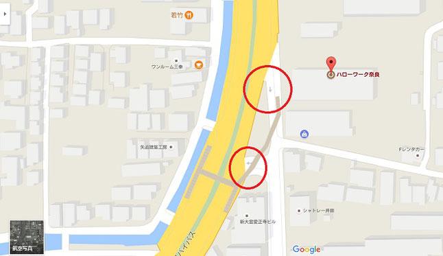 ハローワーク奈良地図注意