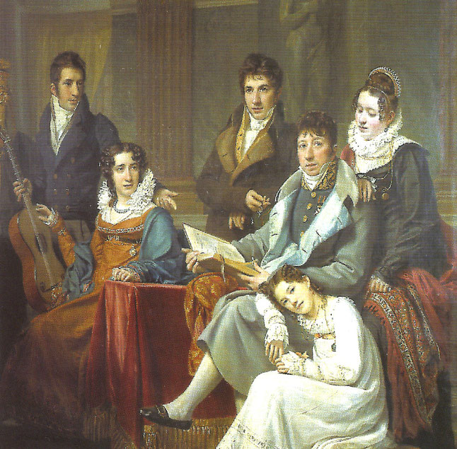A droite : François-Joseph Meeûs (1765-1821) alors veuf de Marie-Thérèse van der Borcht avec ses cinq enfants, de gauche à droite Pierre, le fils aîné, Marie-Françoise...