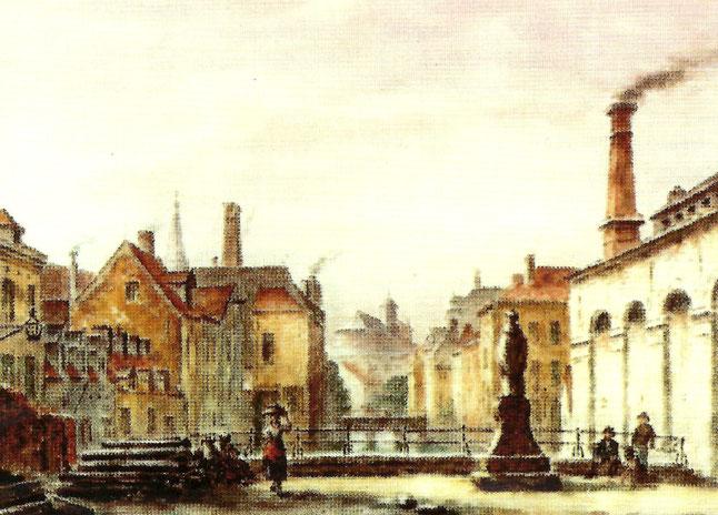 L'usine à gaz (1851). Grâce à Pierre-Joseph Meeûs (1793-1873), fils d'Henri et beau-frère de Ferdinand, les rues de Bruxelles furent éclairées au gaz dès 1821, 35 ans avant Paris.