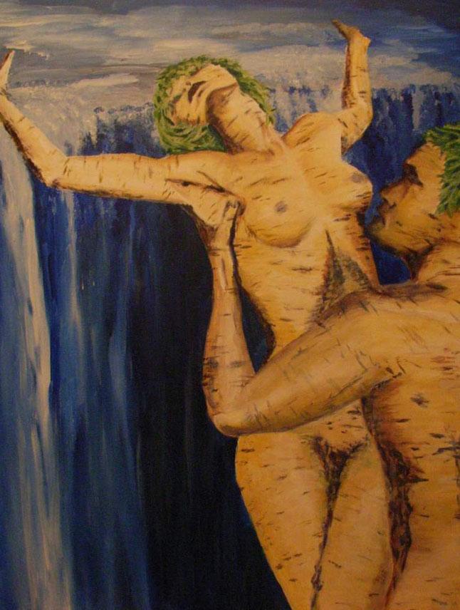 Gemälde. zwei menschliche Gestalt in Birkenrinde, stabil gewachsen als Zeichen der Zeit, unterstütz vom fließenden Wasser im Fall