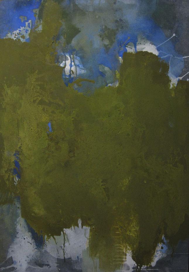 abstraktes Bild · Grün · Blau · Weiss · Leinwand · Patrick Öxler · Wiede Fabrik · Atelier