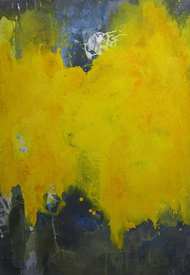 abstraktes Bild · Yellow · Gelb · Blau · Weiss · Leinwand · Patrick Öxler · Wiede Fabrik · Atelier