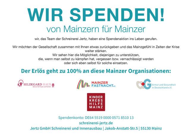 Spendenaktion Schreinerei Jertz Mainz Charity holz tischler schreiner kinderkrebshilfe hildegardhaus armut_und_gesundheit spenden wir_spenden