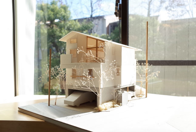 駒形の家(都市型2世帯住宅)の模型写真