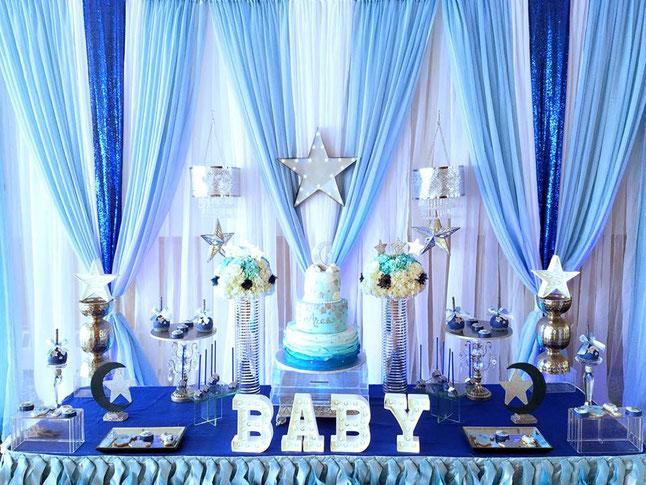 arreglo para baby shower de niño