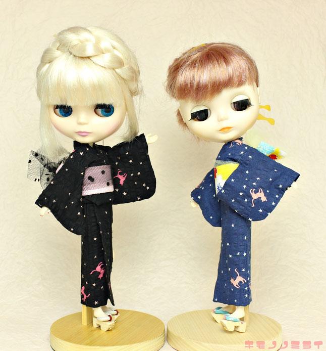 ブライス 浴衣,Blythe kimono,猫柄 浴衣