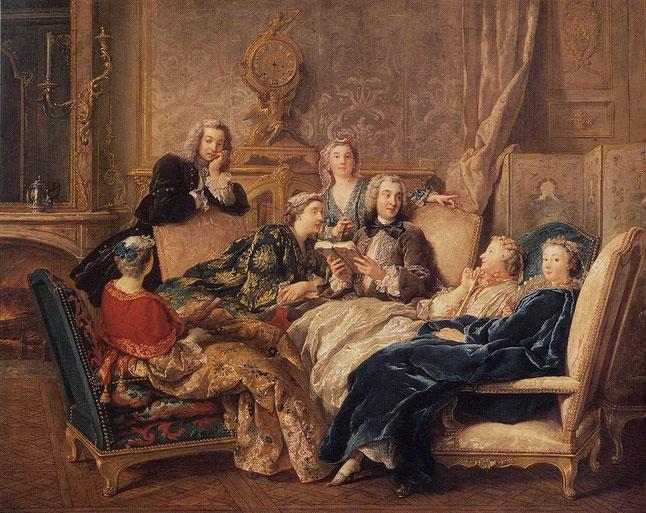 """J. F. De Trois, """"La lettura di Molière"""" (1730)"""