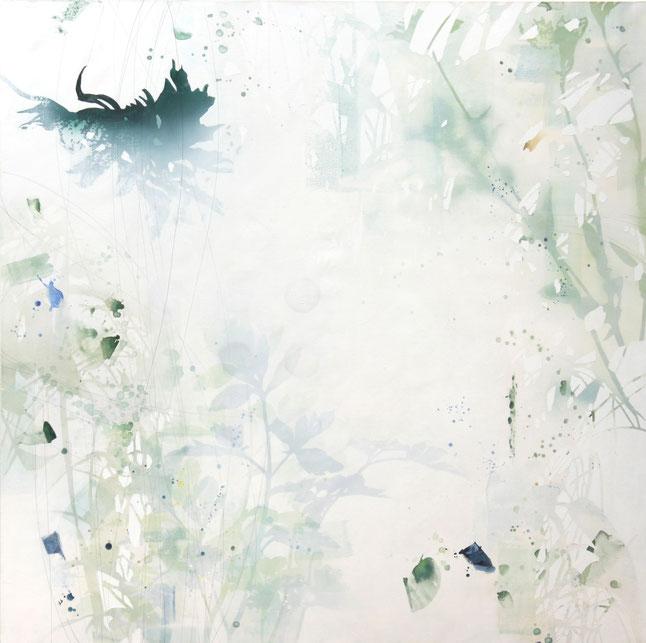 アクリル絵画 透明感 幻想的 植物 ハーブ ベルガモット パセリ ポットマリーゴールド