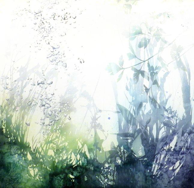アクリル絵画 透明感 幻想的 植物 泡