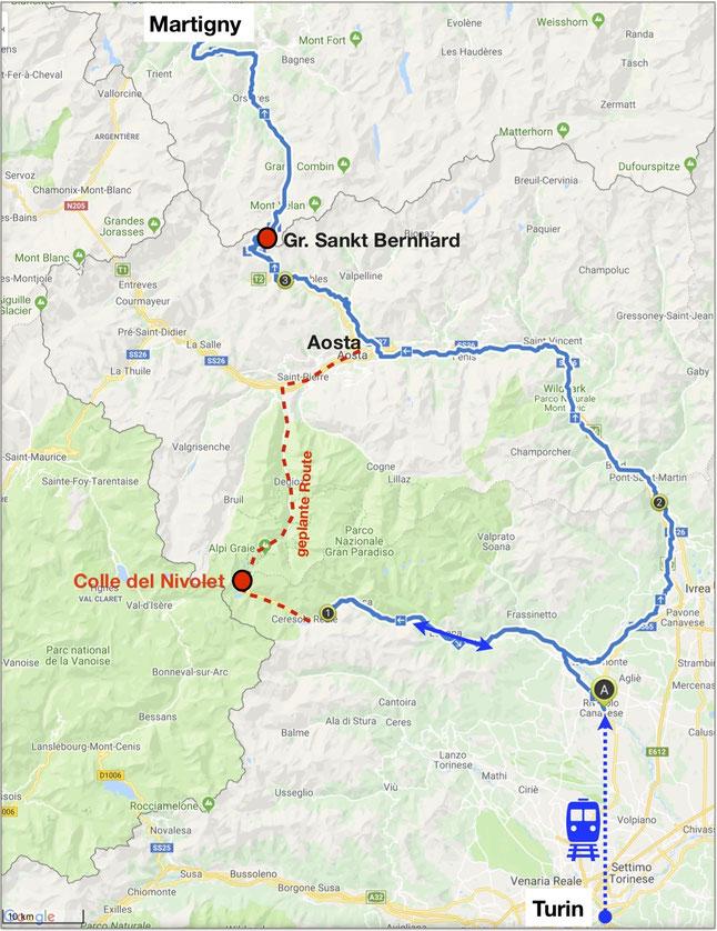 Nizza-München Rallye, Turin, Grosser Sankt Bernhard, Martigny, Übersichtskarte
