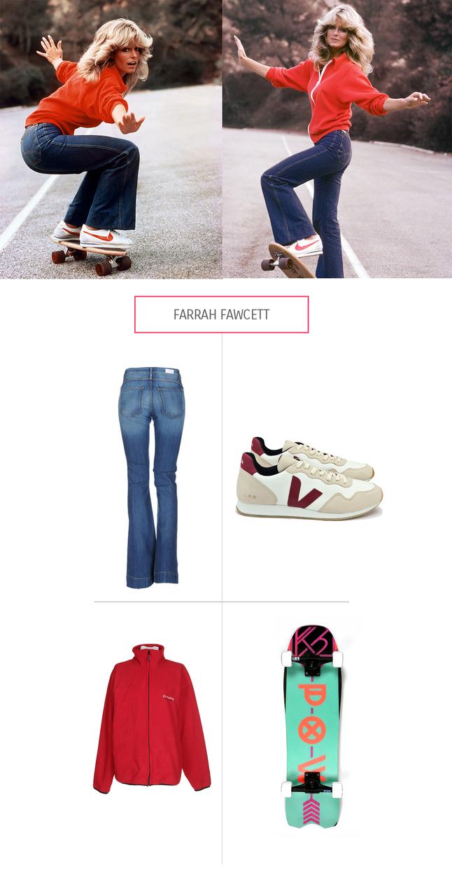 Style von Farrah Fawcett aauf dem Skateboard aus Fair Fashion