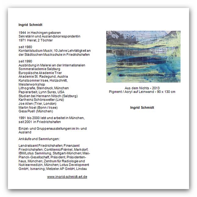 Ingrid Schmidt vom 3. August 2014 bis 8. Januar 2015