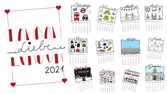Kostenloser London sketchnotes Kalender 2021 zum selber ausdrucken