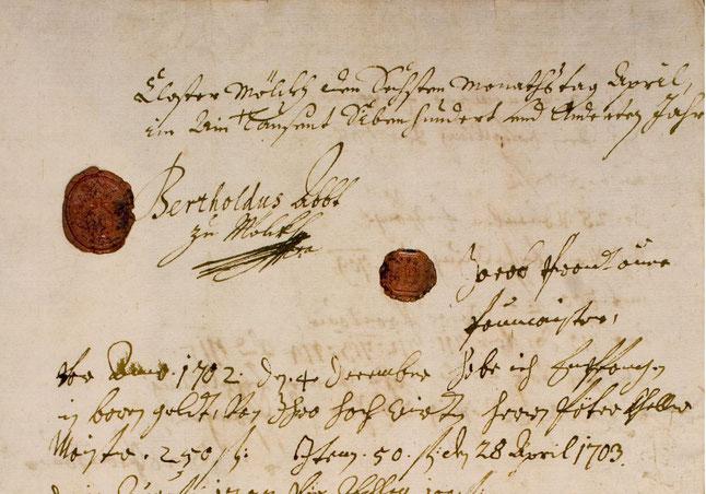 Vertrag zwischen Jakob Prandtauer und Abt Berthold Dietmayr über den Neubau der Melker Stiftskirche vom 6. April 1702