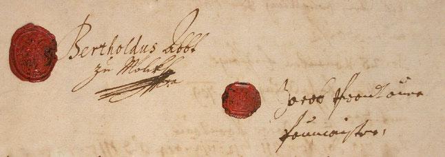 Unterschrift und Siegel von Abt Berthold Dietmayr und Jakob Prandtauer, 1702