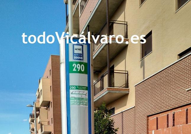 Parada de la línea interurbana 290 en El Cañaveral - El Cañaveral, Vicálvaro, Madrid