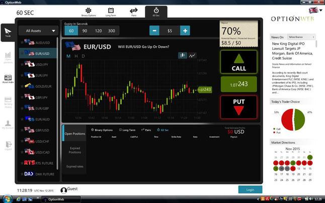 piattaforma optionweb versione desktop