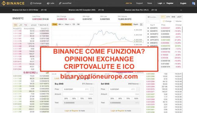 binance opinioni come funziona piattaforma exchange criptovalute