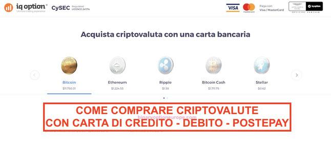 come comprare criptovalute con carta di credito debito visa mastercard postepay