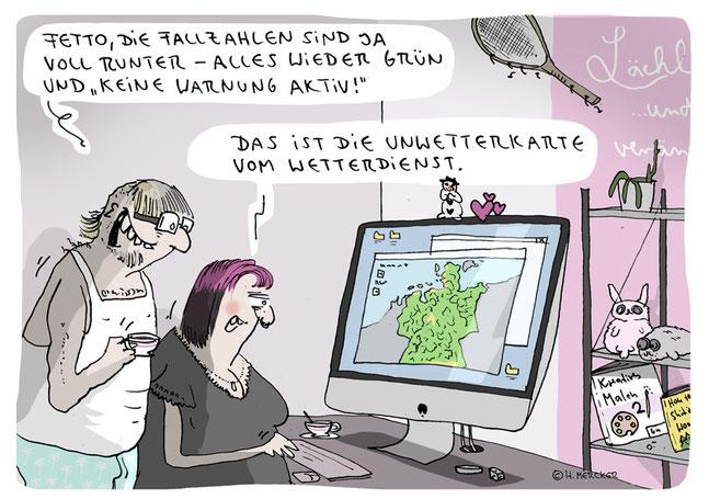 Cartoon von H. Mecker zur Coronakrise 2020