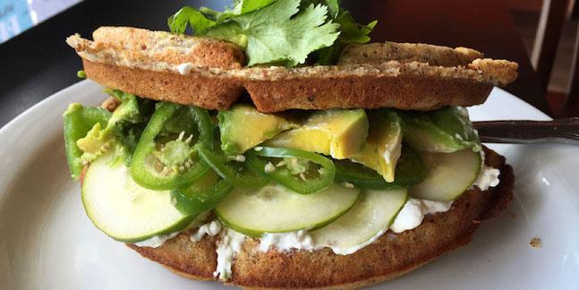 jalapeño waffle sandwich with jalapeño cream cheese at Nectar Cafe