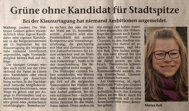 Artikel aus der Waltroper Zeitung (vom 27.02.2020)
