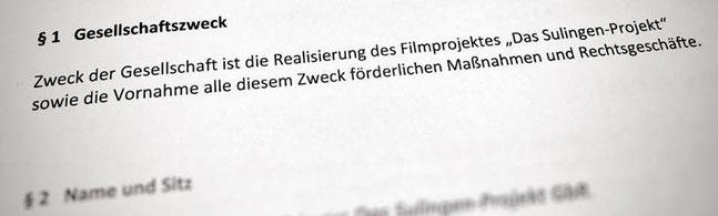 "Der Gesellschaftervertrag ""Das Sulingen Projekt GbR""."