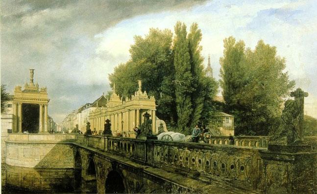 Eduard Gaertner, Königsbrücke und Königskolonnaden, vom Ufer der Königsstadt aus gesehen, 1835, Stiftung Stadtmuseum Berlin