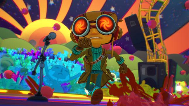 Razputin läuft durch eine psychedelische Welt in Psychonauts 2 von Double Fine Productions.