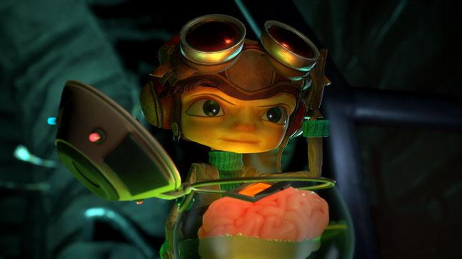 Razputin steht vor einem Gehirn in Psychonauts 2 von Double Fine Productions