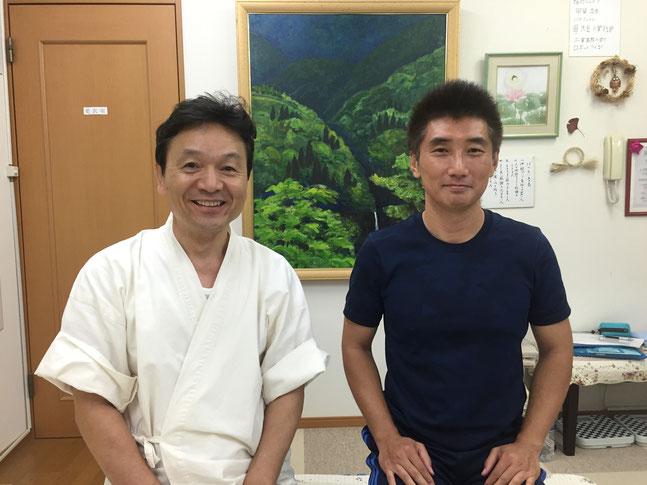 飽田謙二先生と山岡哲也の写真