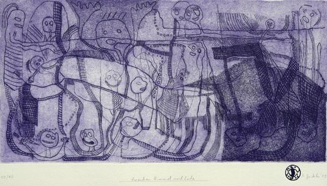 Zwischen Himmel und Erde: Aquatinta, Strichätzung, Gravur auf Bütten, Auflage 10, 32 x 49 cm, 2009